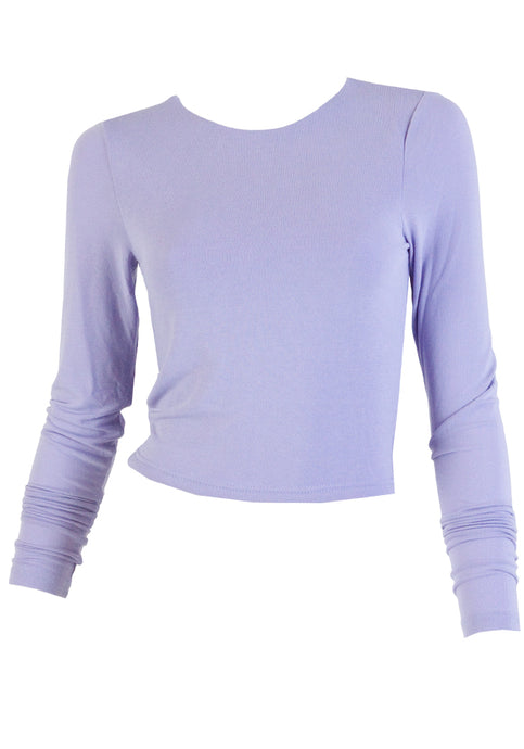 MAISIE FITTED CROP STRETCH TOP - LILAC