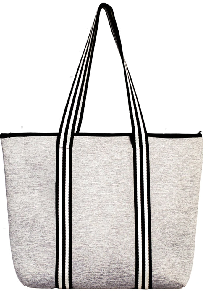 MANHATTAN NEOPRENE TOTE BAG- WITH ZIP CLOSURE- GREY