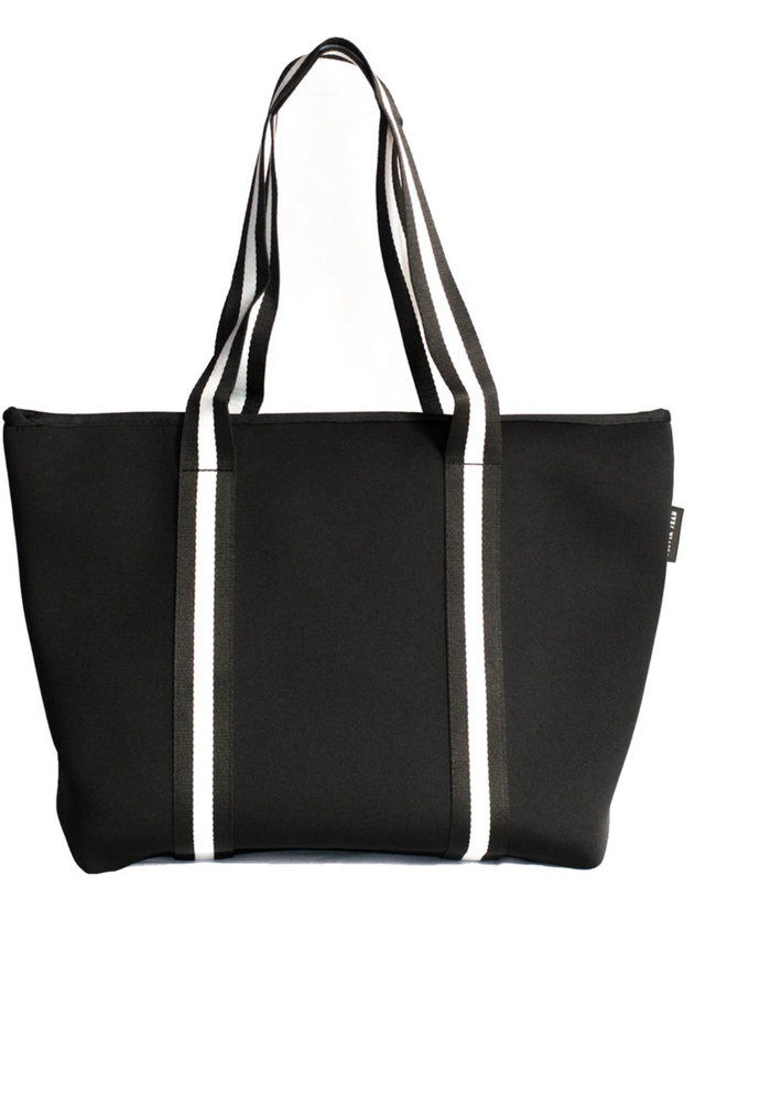 MANHATTAN NEOPRENE TOTE BAG- WITH ZIP CLOSURE- BLACK