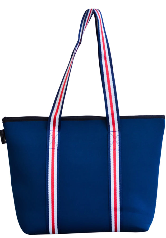 MANHATTAN NEOPRENE TOTE BAG- WITH ZIP CLOSURE- NAVY