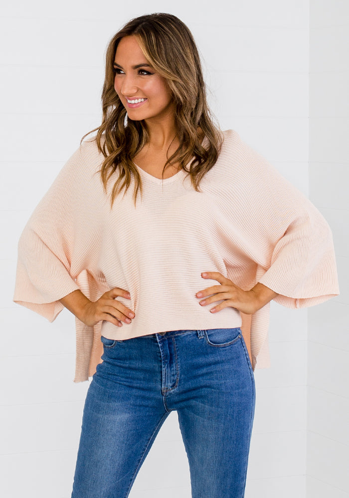 MARA V NECK WIDE SLEEVE RIB KNIT - FLOSS