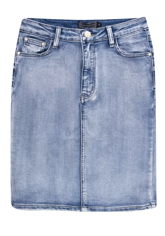 Load image into Gallery viewer, MARCO STRETCH STONE WASH DENIM SKIRT