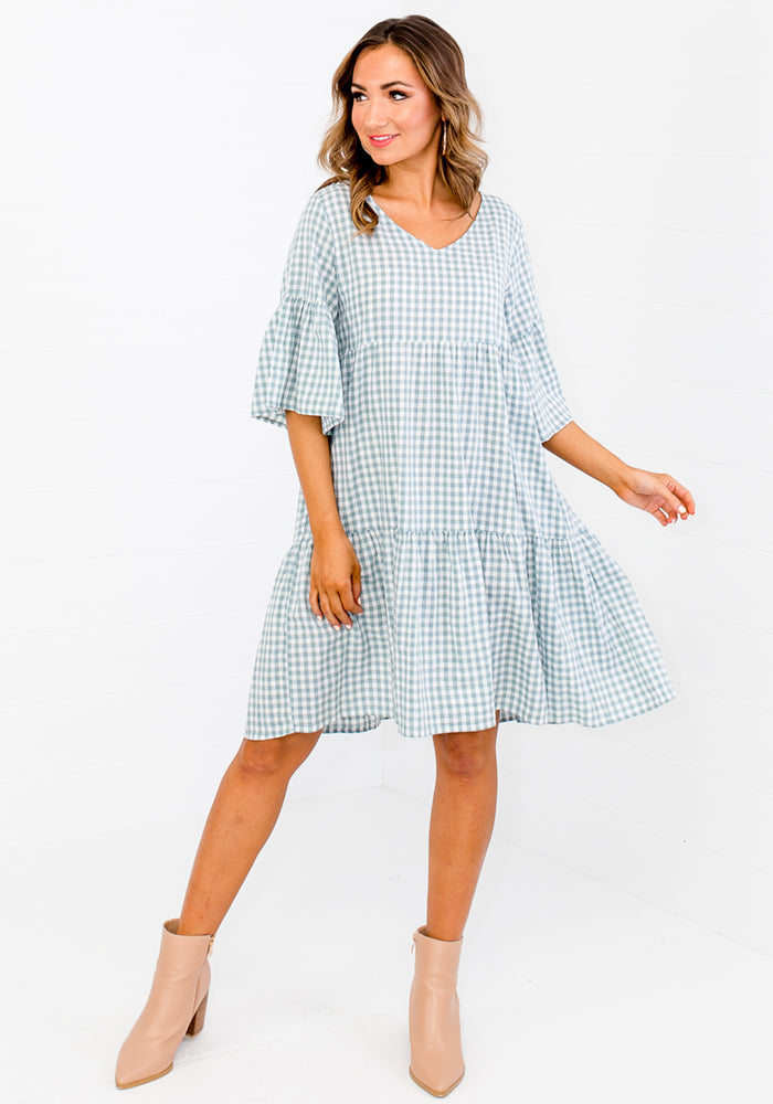 Load image into Gallery viewer, MARLEY GINGHAM TIERED DRESS - DUCK EGG