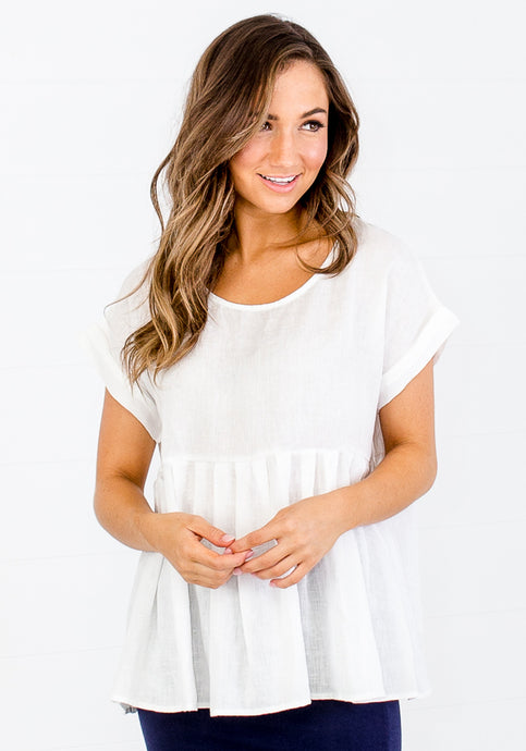 MAY WHITE LINEN TOP
