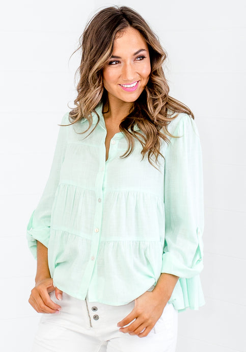 MILZY TIERED COLLARED SHIRT - MINT