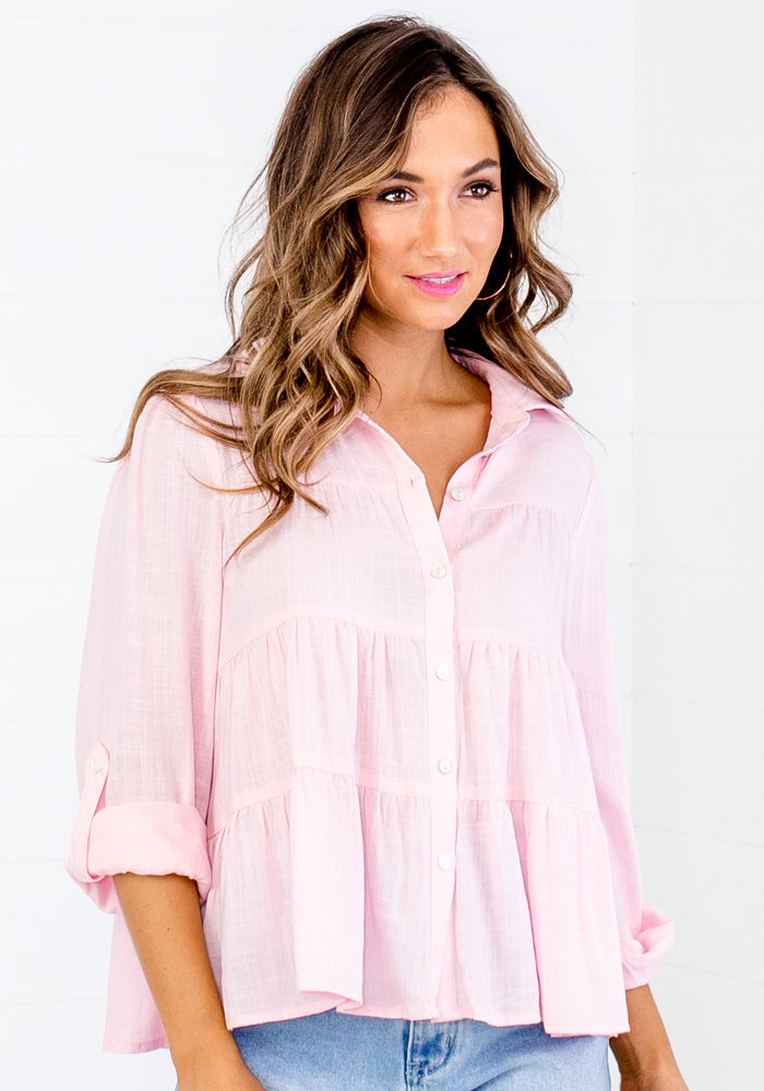 MILZY TIERED COLLARED SHIRT - BABY PINK