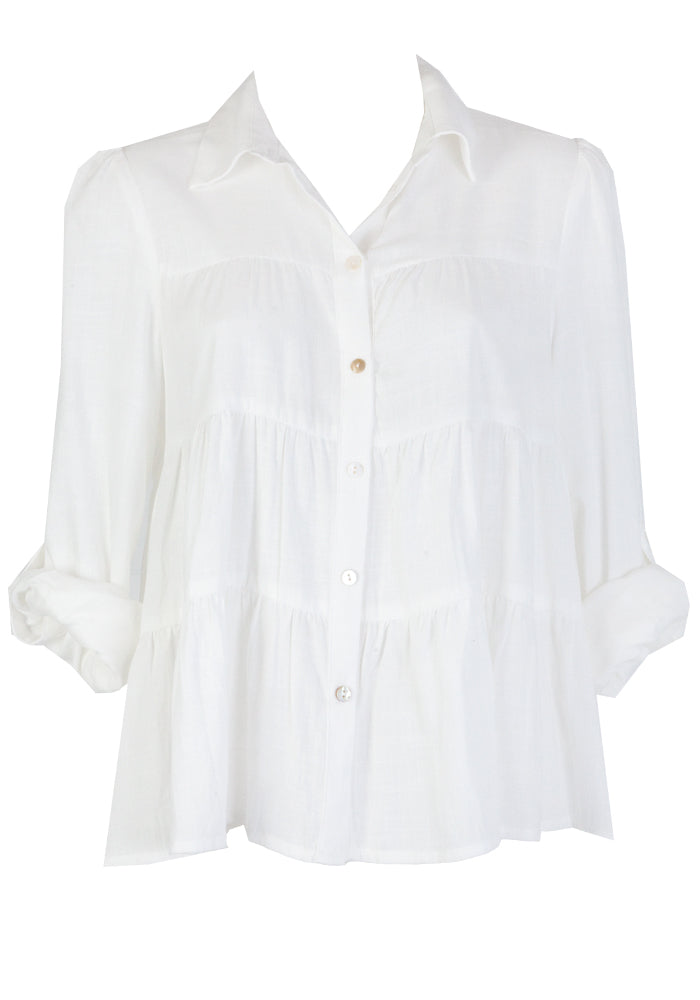 MILZY TIERED COLLARED SHIRT - WHITE