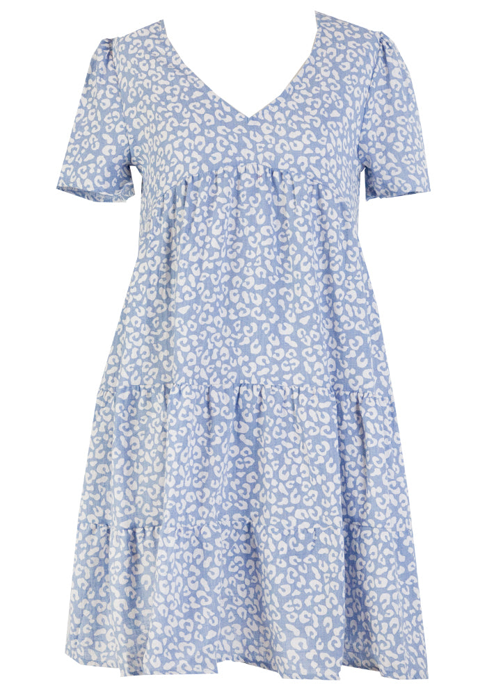 MIRA COTTON TIERED DRESS - BLUE SPOT PRINT