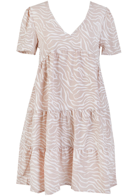 MIRA COTTON TIERED DRESS - NATURAL SWIRL