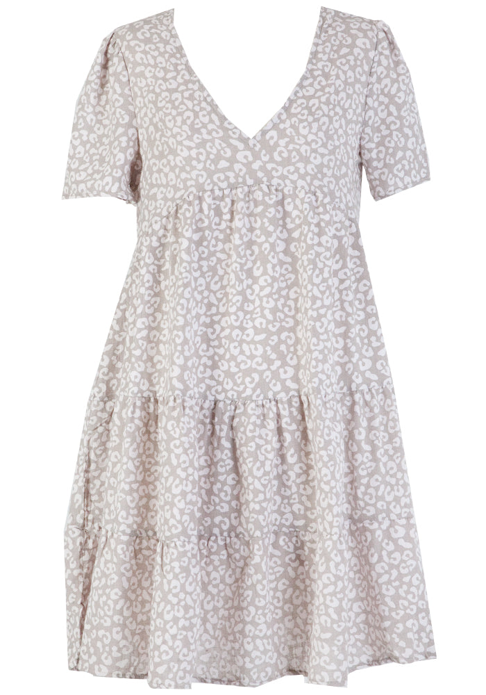 MIRA COTTON TIERED DRESS - TAUPE SPOT PRINT