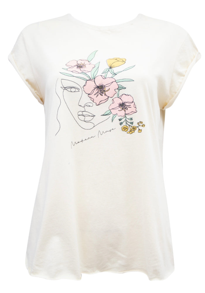 MODERN MUSE ILLUSTRATED TEE - NATURAL