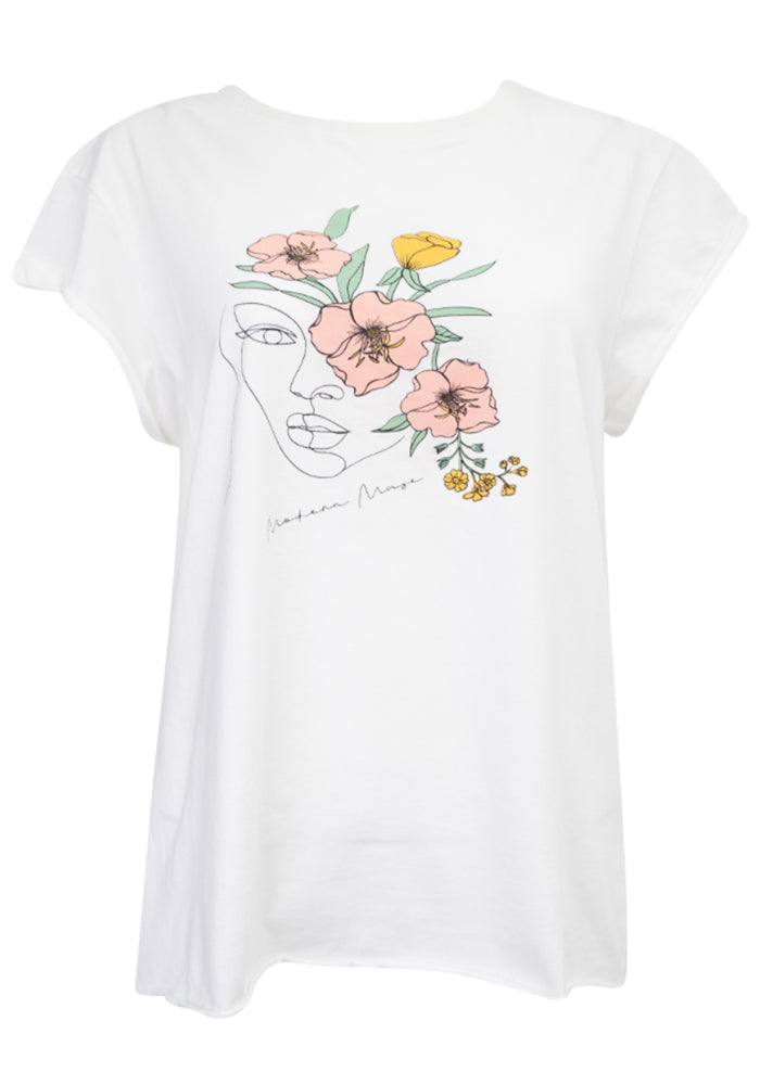 MODERN MUSE ILLUSTRATED TEE - WHITE