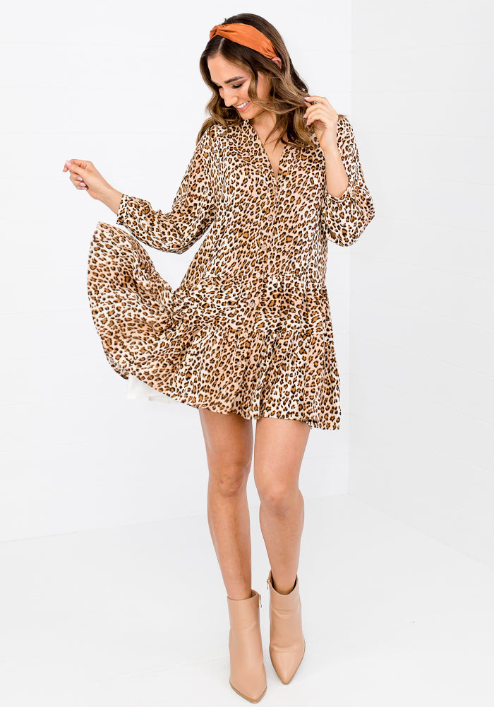 NADIA BUTTON THROUGH TIERED DRESS - LEOPARD