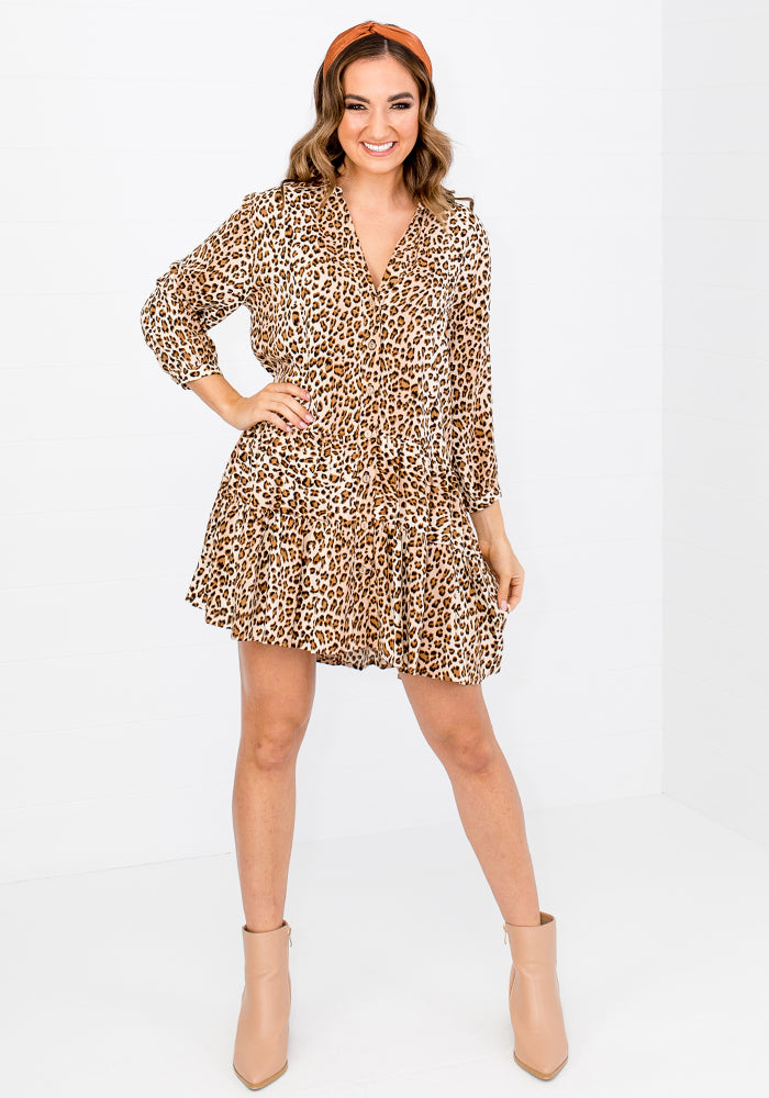 Load image into Gallery viewer, NADIA BUTTON THROUGH TIERED DRESS - LEOPARD