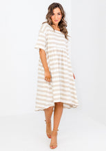 Load image into Gallery viewer, NAIDA STRIPE RELAXED DRESS - NATURAL