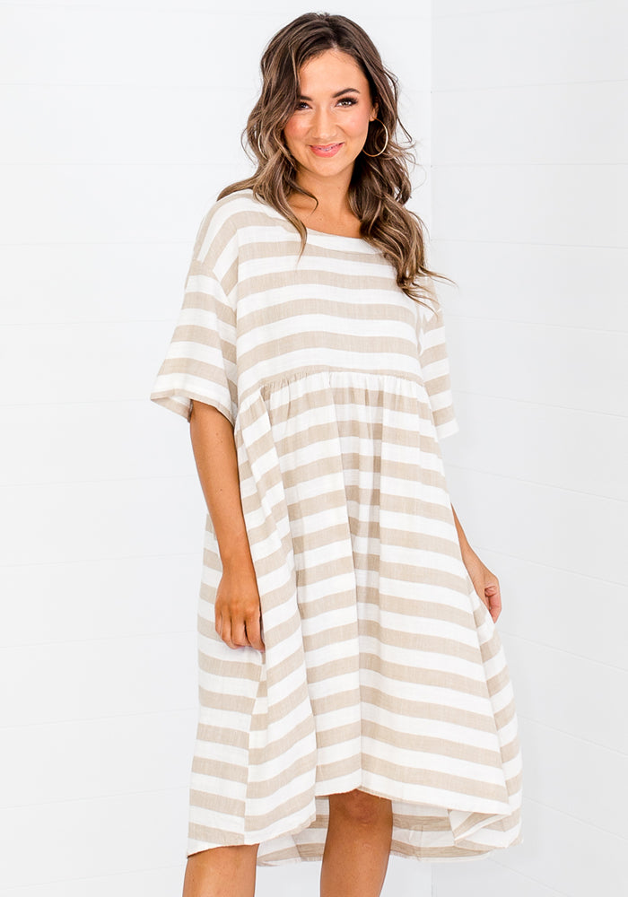 NAIDA STRIPE RELAXED DRESS - NATURAL