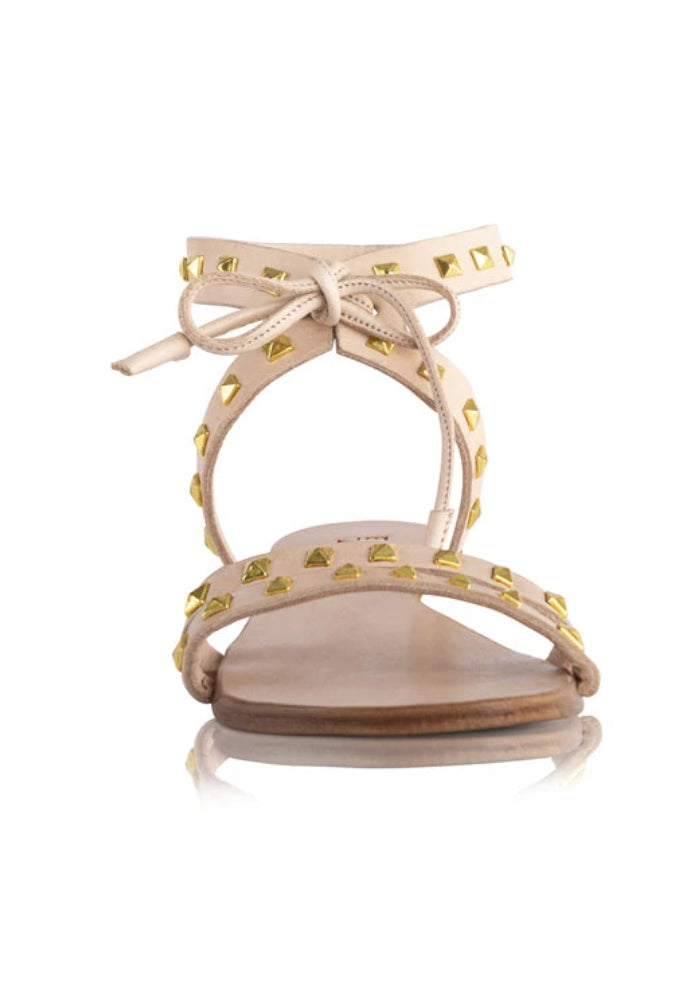 EL ZAPATO - OLIVIA SANDALS - NUDE WITH GOLD STUDS