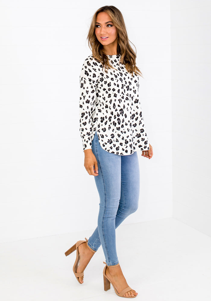 OLLIE LEOPARD PRINT SWEATER - WHITE