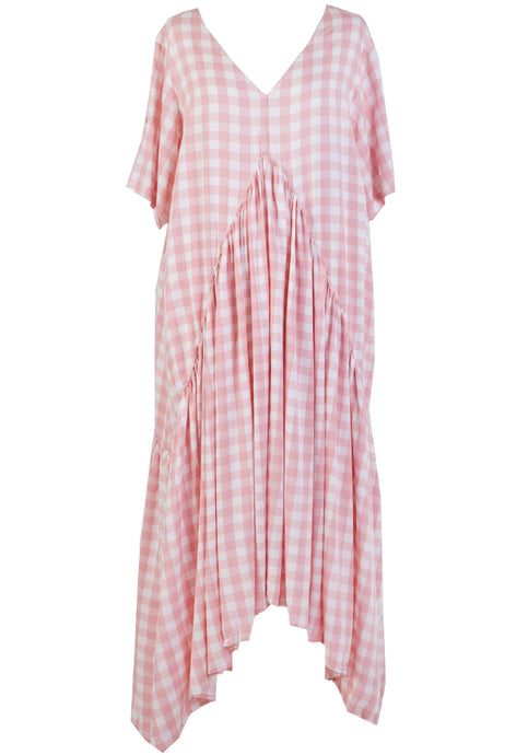 PEAK MAXI DRESS - PINK GINGHAM