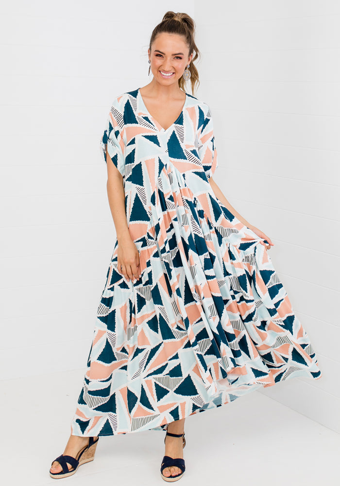Load image into Gallery viewer, PEAK MAXI DRESS - SANDCASTLE PRINT