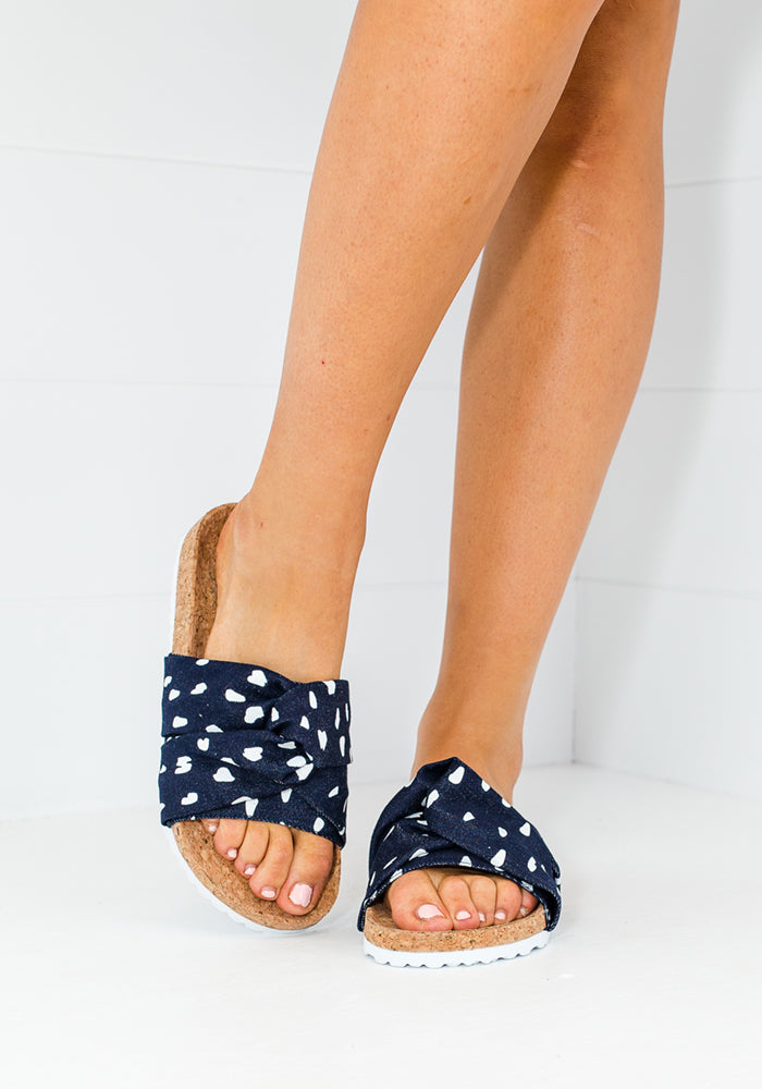 Load image into Gallery viewer, HUMAN SHOES PENGUIN SLIDES - NAVY & WHITE SPOT