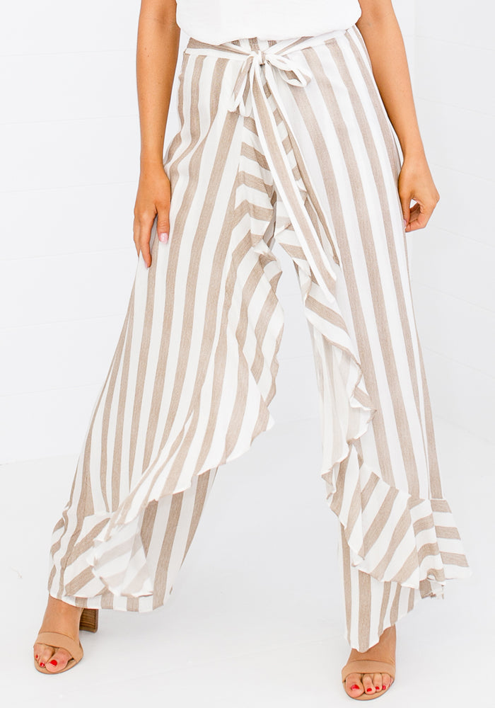 Load image into Gallery viewer, PEPPA STRIPE FRILL WRAP PALAZZO PANTS - NATURAL