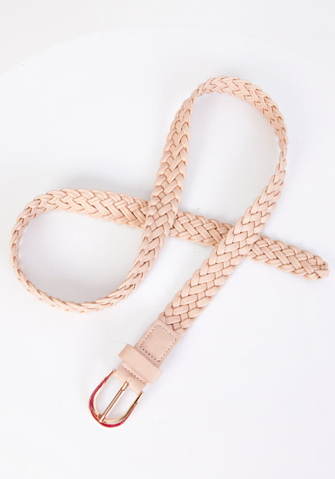 SOFT PLAITED BELT WITH GOLD BUCKLE - SAND