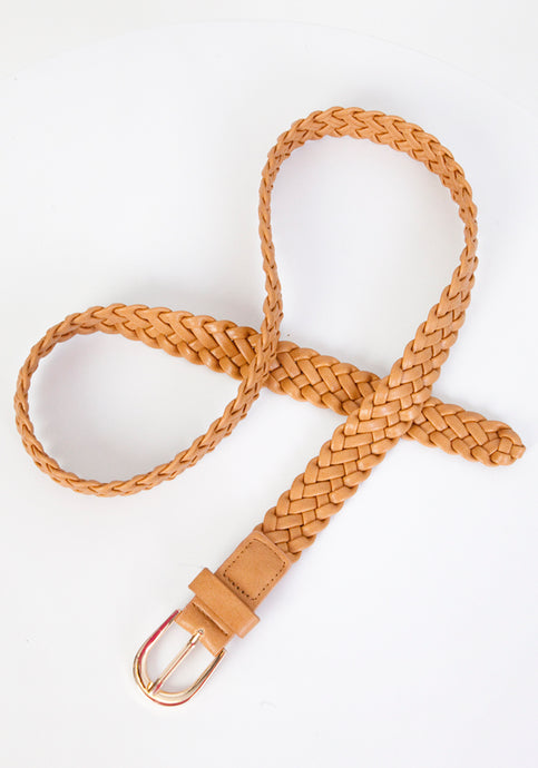 SOFT PLAITED BELT WITH GOLD BUCKLE - TAN