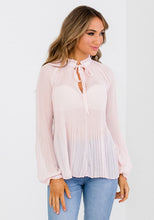 Load image into Gallery viewer, PLEAT TIE NECK BLOUSE - SOFT PINK