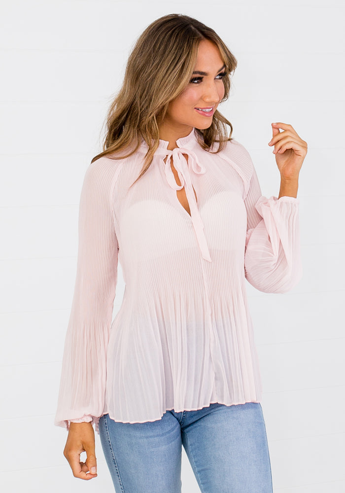 PLEAT TIE NECK BLOUSE - SOFT PINK