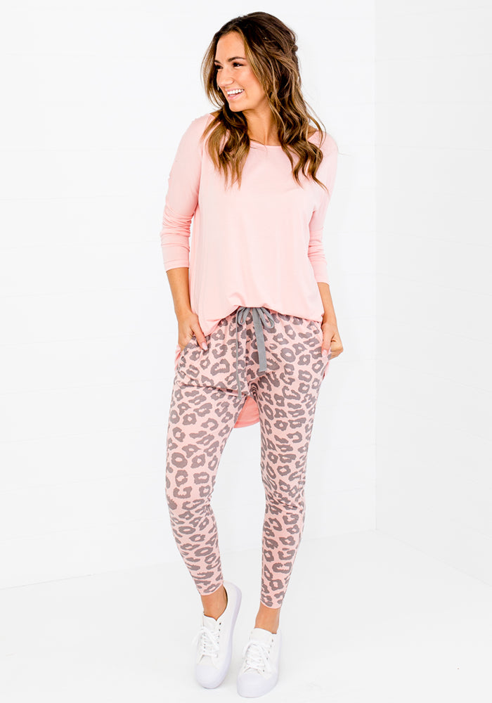 Load image into Gallery viewer, POLLY TIE WAIST JOGGER - BLUSH & GREY