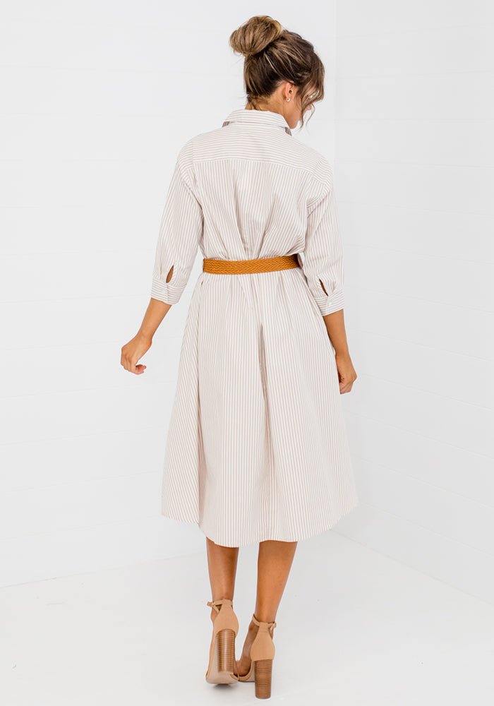 Load image into Gallery viewer, POLO PINSTRIPE SHIRTDRESS WITH BELT - NATURAL