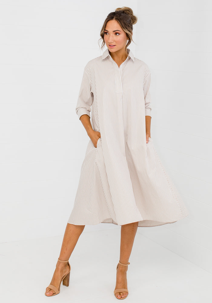POLO PINSTRIPE SHIRTDRESS WITH BELT - NATURAL