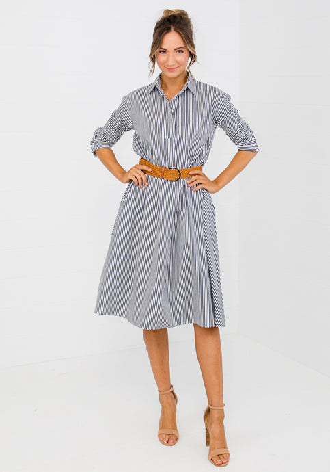 POLO PINSTRIPE SHIRTDRESS WITH BELT - NAVY