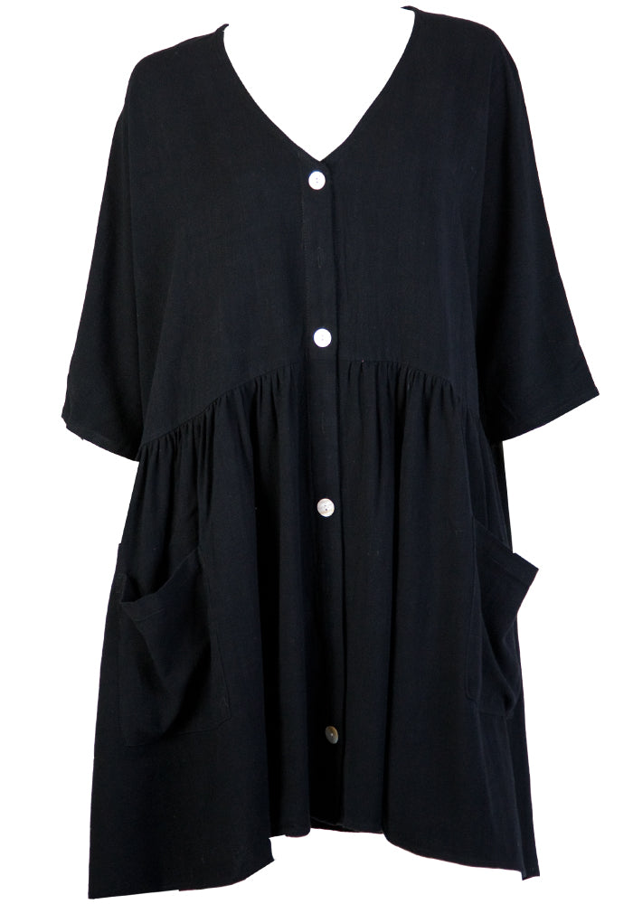 MULANA BUTTON THROUGH DRESS - BLACK