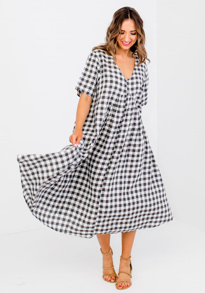 REMY PEAK PRINT CHECK MIDI DRESS