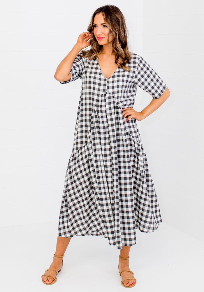 Load image into Gallery viewer, REMY PEAK PRINT CHECK MIDI DRESS