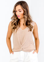 Load image into Gallery viewer, RITA KNOT KNITTED TOP - TAN