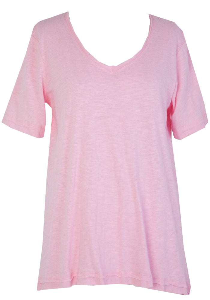 BETTY BASICS RAW EDGE COTTON TEE - PALE PINK