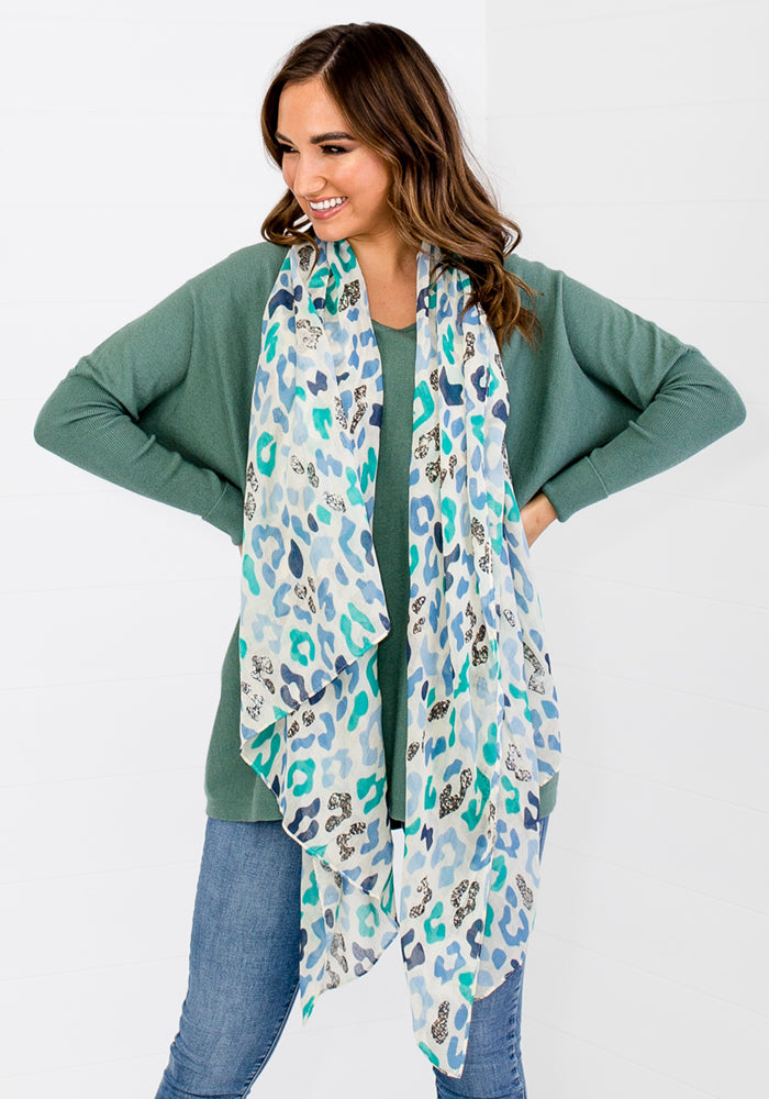 BLUE PRINT SCARF WITH SILVER FOIL