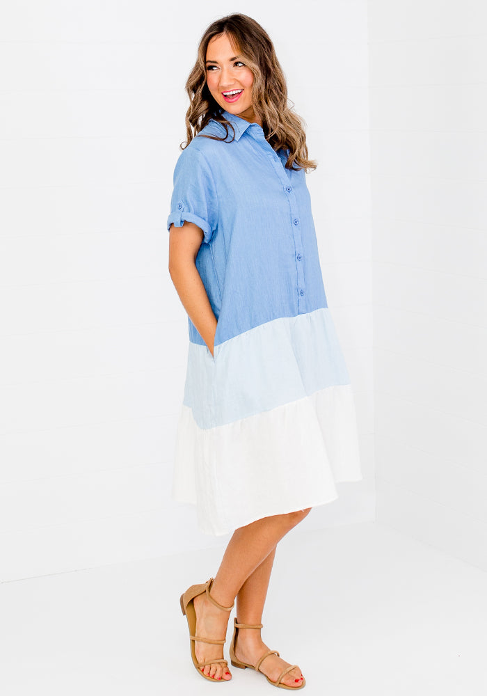 RYDER SPLICED LINEN SHIRT DRESS - BLUE BLOCK
