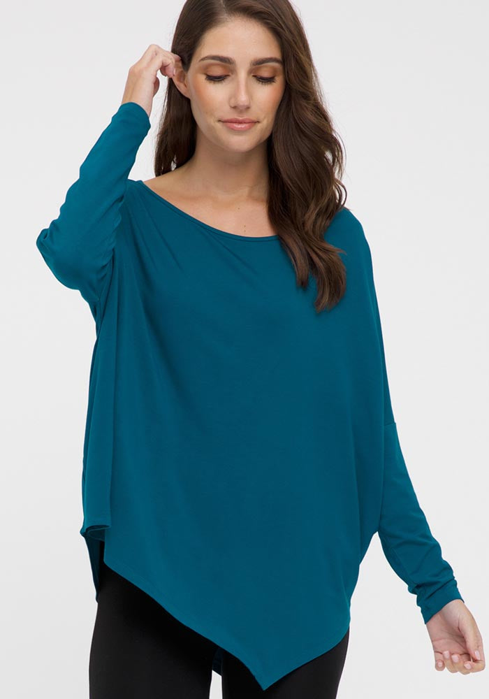 BAMBOO RELAXED BOATNECK TOP - TEAL