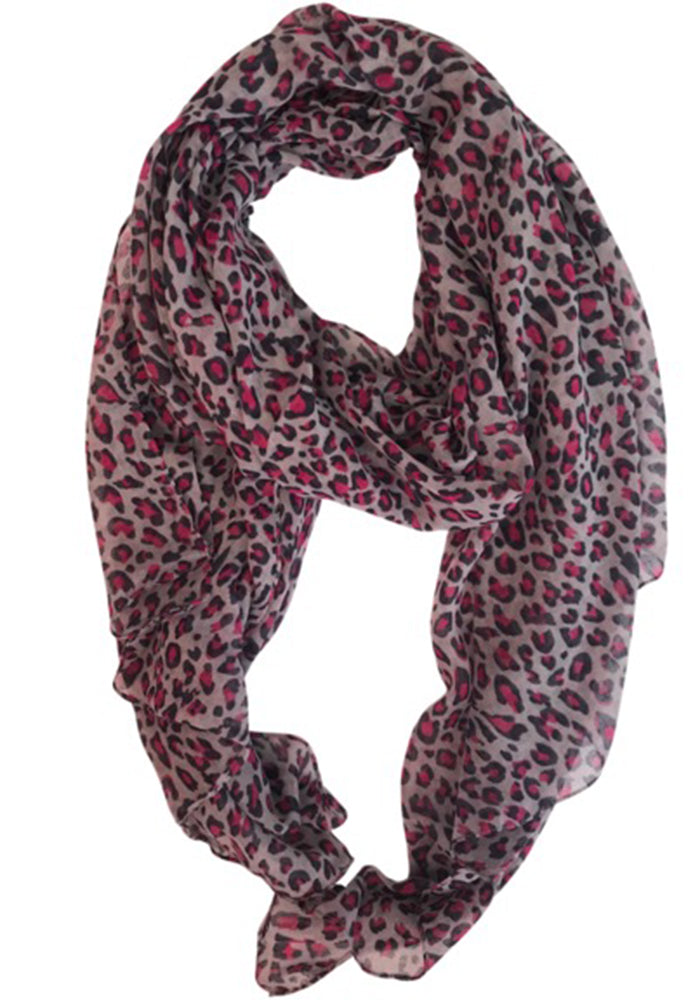 LIGHT WEIGHT SCARF - PINK LEOPARD PRINT