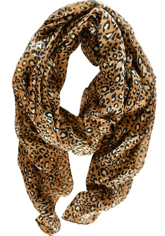 Load image into Gallery viewer, LIGHT WEIGHT SCARF - TAN LEOPARD PRINT