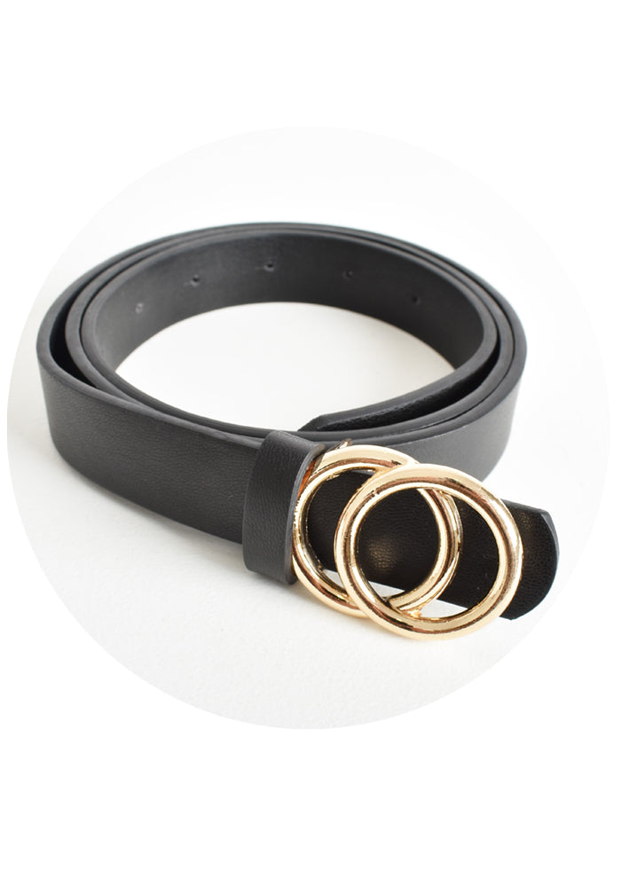 SEEING DOUBLE RING BELT - BLACK
