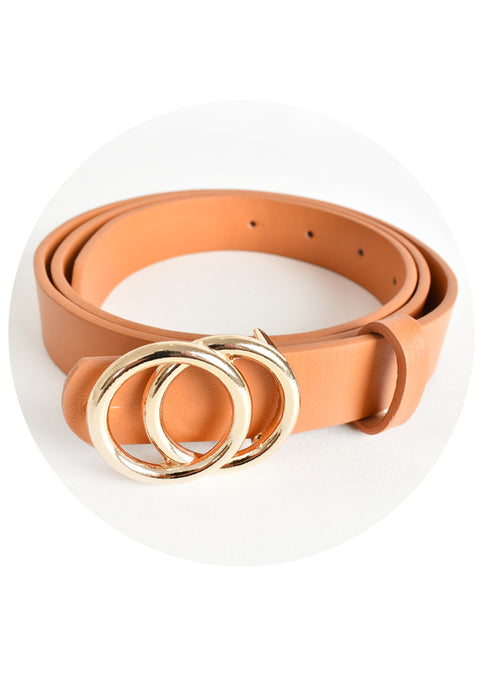 SEEING DOUBLE RING BELT - TAN