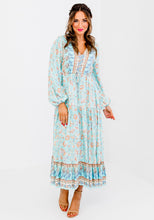 Load image into Gallery viewer, SHAE BORDER PRINT MAXI DRESS - AQUA