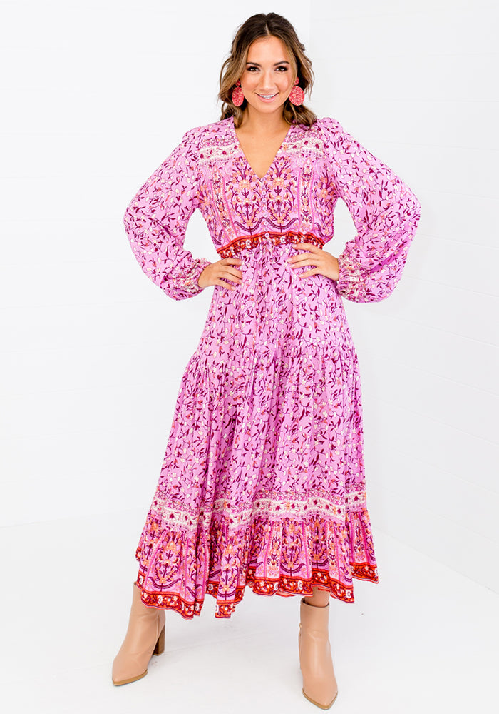 SHAE PINK BORDER PRINT MAXI DRESS
