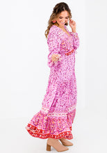 Load image into Gallery viewer, SHAE PINK BORDER PRINT MAXI DRESS
