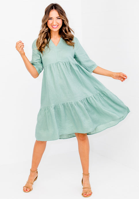 SOCIETY TIERED LINEN DRESS WITH COLLAR